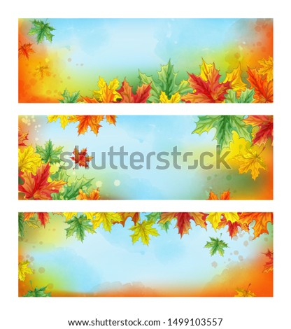 three horizontal autumn banners
