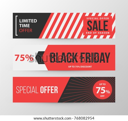Three horizontal Black Friday banners in retro black and red style on gray background