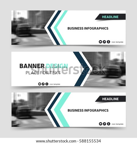 Three horizontal business banner templates. Vector corporate identity design, technology background layout. Modern blue website header, eps10