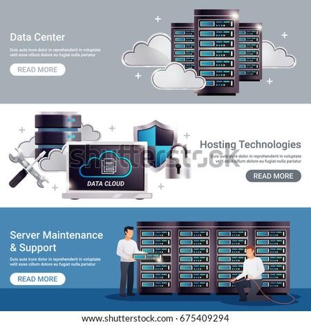 Three horizontal datacenter horizontal banner set with data center hosting technologies server maintenance support descriptions vector illustration