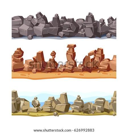three horizontal seamless rocky