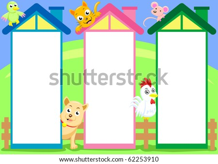 three house column cartoon for input text or use for. Black Bedroom Furniture Sets. Home Design Ideas