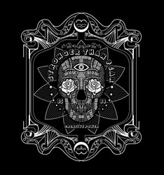 Three human skulls - the shamans, magic horn. Eye of Providence. Background - imitation of old paper, a decorative frame. Vector illustration.
