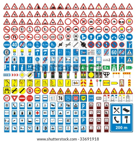 three hundred fully editable vector european traffic signs with details ready to use #33691918