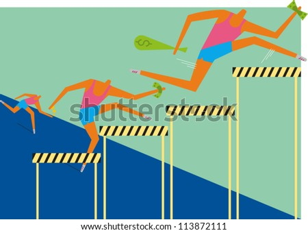 Three hurdlers holding money race along a track jumping hurdles of various height