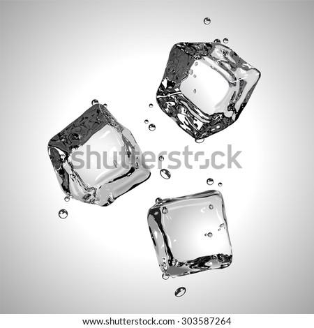 three ice cubes in black and