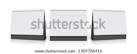 three identical white empty desk calendars from different sides mock up vector