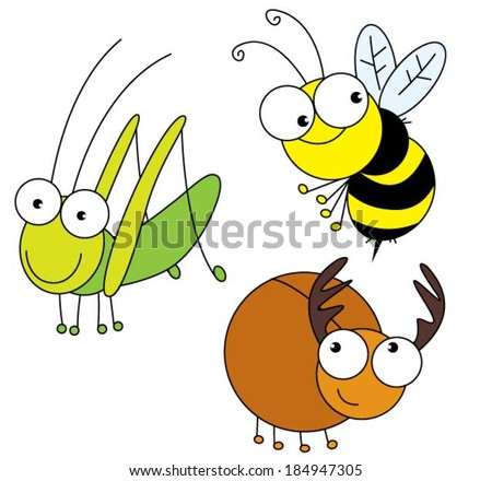 Three insect.Set of three infant insect bugs animal.