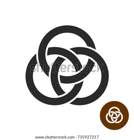 Three interlocking rings simple black silhouette. Borromean rings logo.