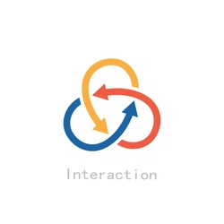 three intersecting arrows interaction concept