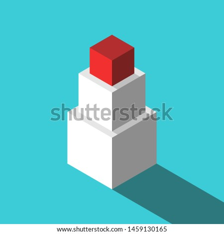 Three isometric different cubes stacked, red unique one on top. Leadership, education, uniqueness, management and development concept. Flat design. Vector illustration, no transparency, no gradients