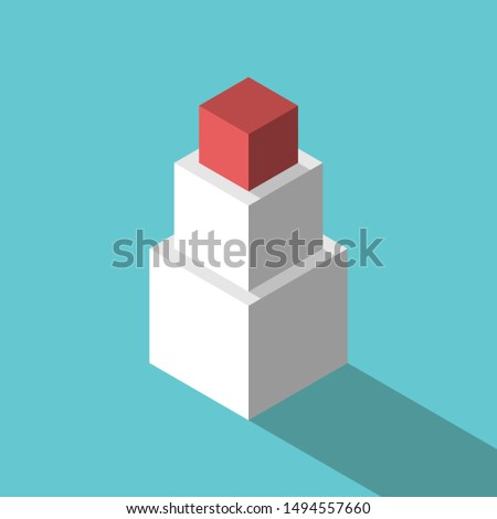 Three isometric different cubes stacked, red unique one on top. Leadership, education, uniqueness, management and development concept. EPS 8 vector illustration, no transparency, no gradients