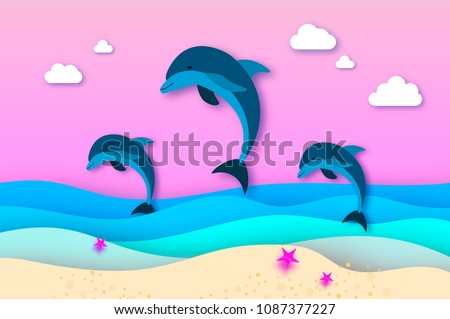 three jumping dolphins in the
