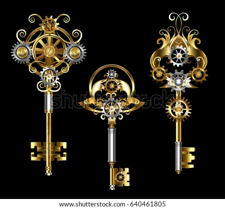 three keys with gears of gold
