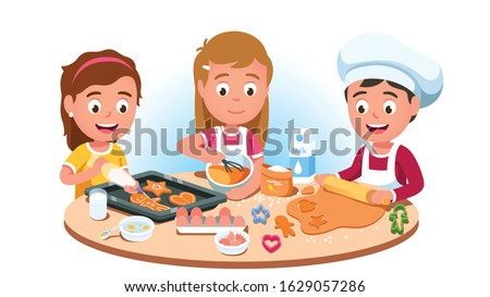 Three kids baking cookies. Mixing flour, eggs, milk, making & flattening dough, decorating bakery with cream on baking sheet. Boy in chef hat, girl in apron cooking. Flat vector character illustration