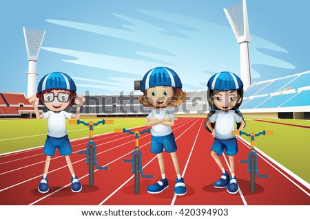 Three kids riding bike on the track illustration