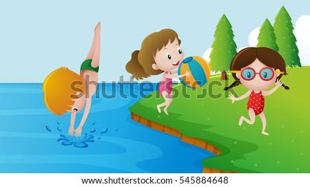 three kids swimming in the lake