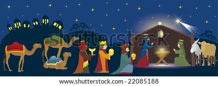 Three Kings coming to Bethlehem, nativity scene whit three magi, Jesus, Mary, Josef and animals, Biblical scene