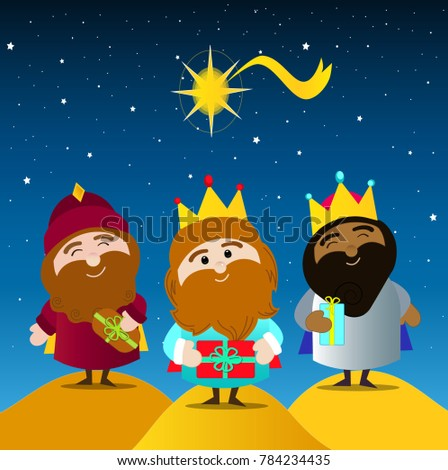 Three kings day. Melchior, Caspar and balthazar with their gifts. Night background with the star of Bethlehem.