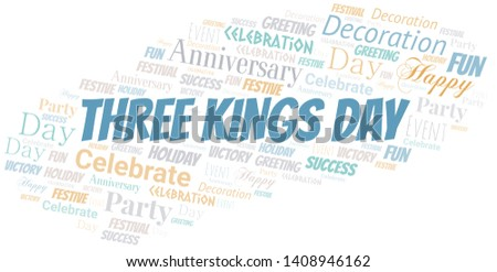 Three Kings Day Word Cloud. Word cloud Made With Text.