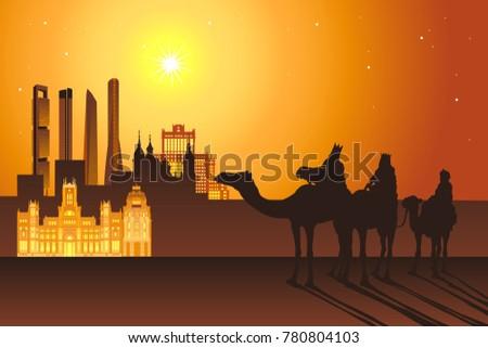 Three Kings: Melchior,Caspar,Balthazar ride camels to Madrid city vector illustration. Cibeles palace, Cuatro torres, Gran Via landmarks and buildings.Reyes Magos de Oriente holiday camelcade.