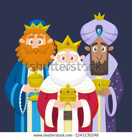 Three Kings. Three wise men portrait. Melchior, Gaspard and Balthazar bringing gifts for Jesus. Vector illustration.