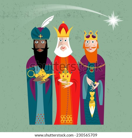 Three Kings. Three wise men.Vector illustration.