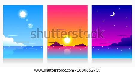 three landscapes set of beach