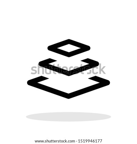 Three layers icon in trendy flat style. Layered material symbol for your web site design, logo, app, UI Vector EPS 10.