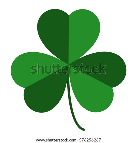 three leaf green clover, an attribute to St. Patrick's day, abstract clover vector illustration isolated on white background