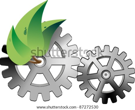 Three leaf of a tree and two gears