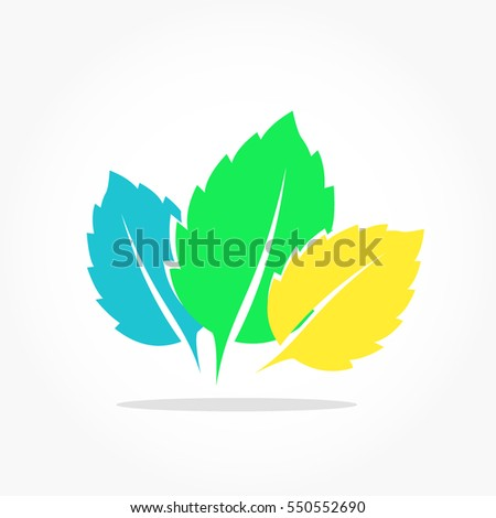 three leafs colored in blue