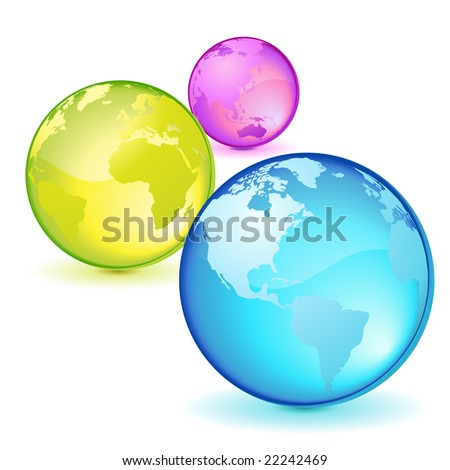 Three lighted transparent globes, colors and nations