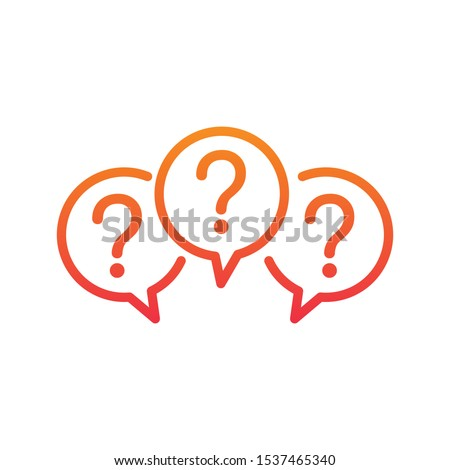 Three linear chat speech message bubbles with question marks. Forum icon. Communication concept. Stock vector illustration isolated on white background.