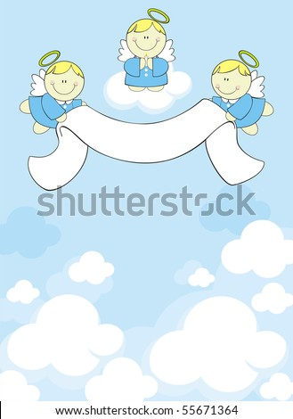 three little angels with ribbon