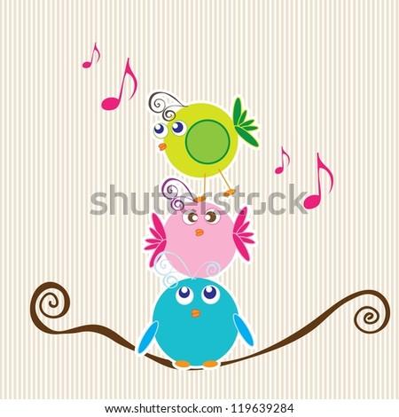 Three little birds talking with stripe background.