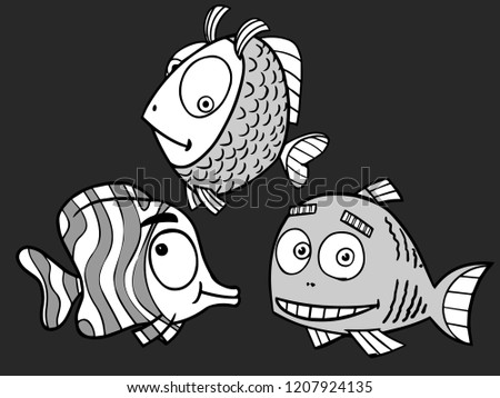 Three little cute fish