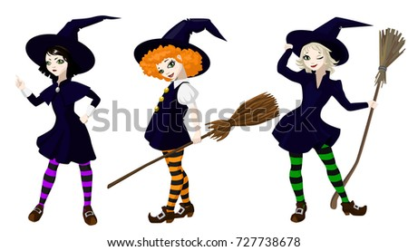 three little cute witches