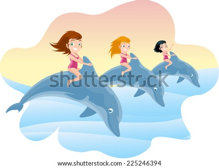 three little girls riding on