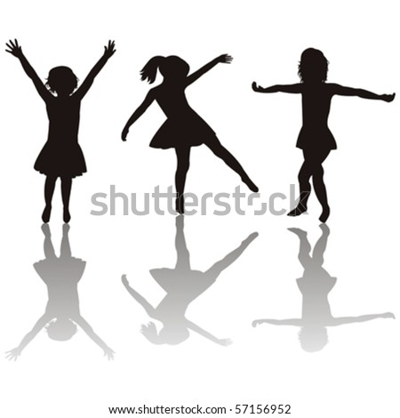 Three little girls silhouettes