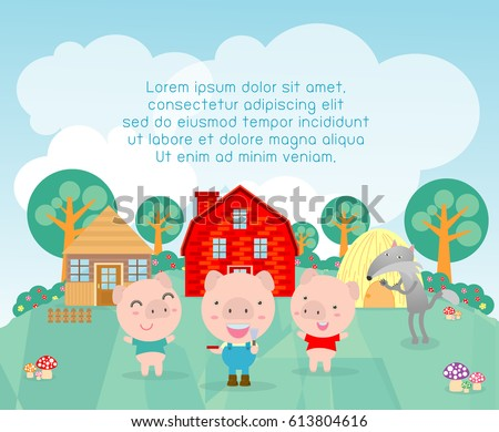 Three little pigs,Template for advertising brochure,your text ,tale for Children's, Kids and frame,Vector Illustration