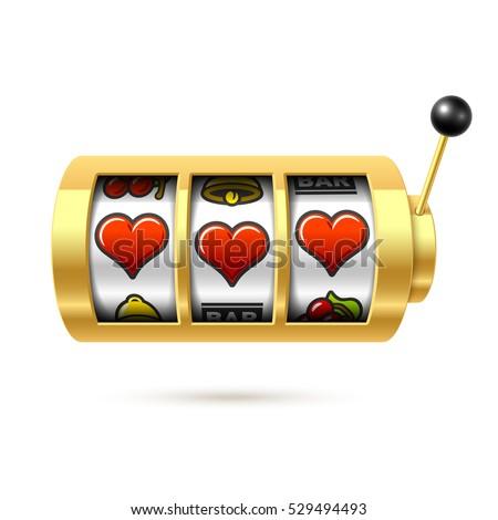 three lucky heart symbols on