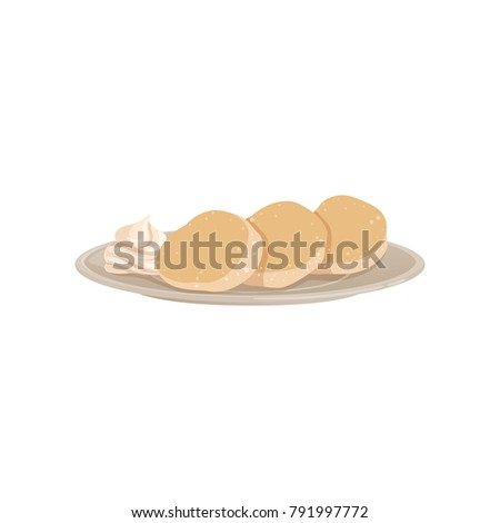 Three lush fritters with whipped cream on a plate. Fast food, breakfast concept. Flat vector design for recipe book, menu, cafe poster or flyer