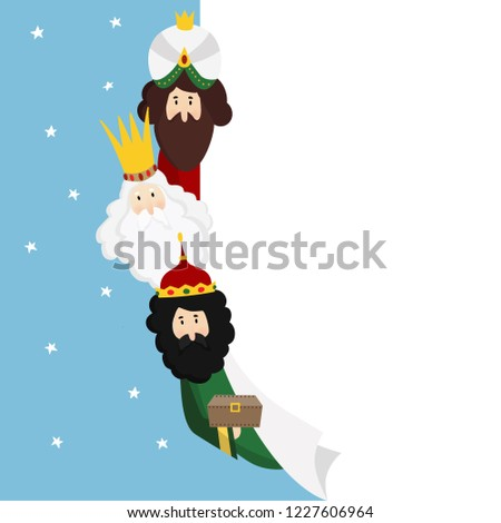 Three magi. Biblical kings Caspar, Melchior and Balthazar. Christmas vector illustration background, web banner for Spanish Dia del Reyes holiday with blank list of paper. Flat design.
