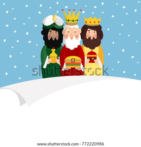 Three magi. Biblical kings Caspar, Melchior and Balthazar. Vector illustration background, web banner for Spanish Dia del Reyes holiday with blank list of paper.