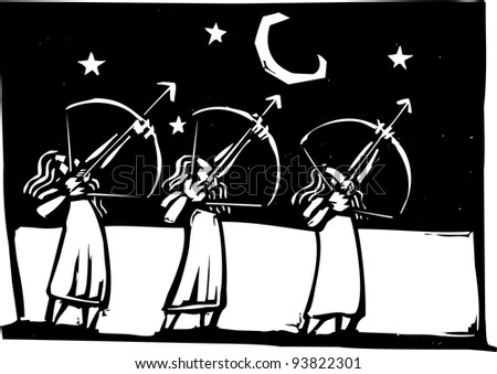 Three man with bows shooting arrows into the night sky.