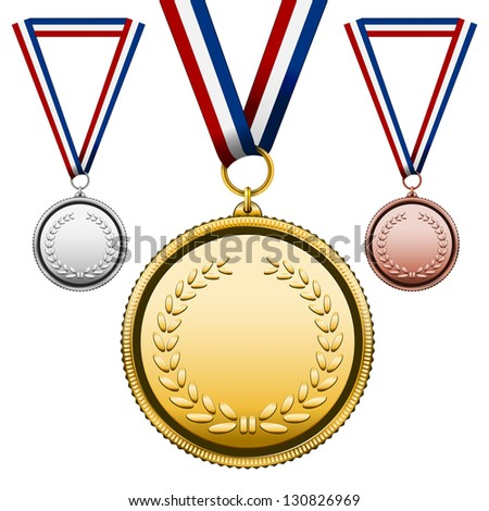 Three Medals Gold Silver bronze with blank face isolated on white Vector Illustration