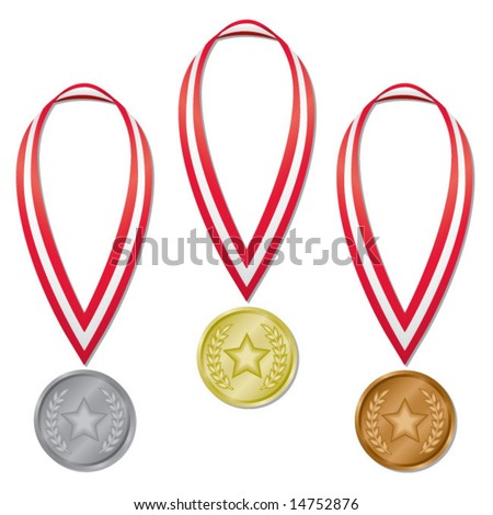 Three medals in gold, silver, and bronze with red and white ribbons; perfect for Olympic projects! (Blends used.)