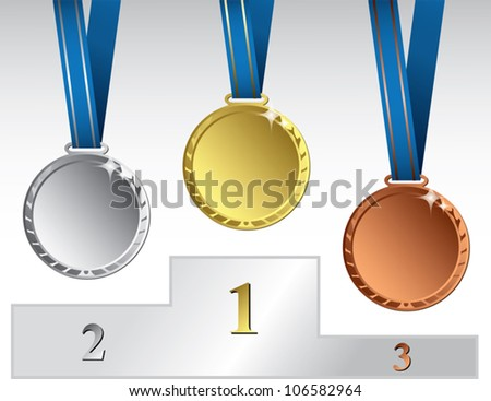 Three medals on podium - vector illustration
