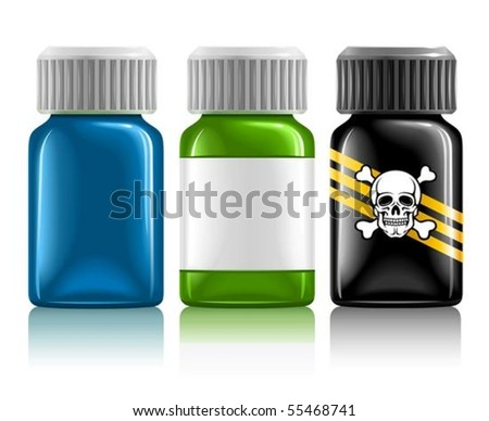 three medical bottles with medication and poison vector illustration, isolated on white background